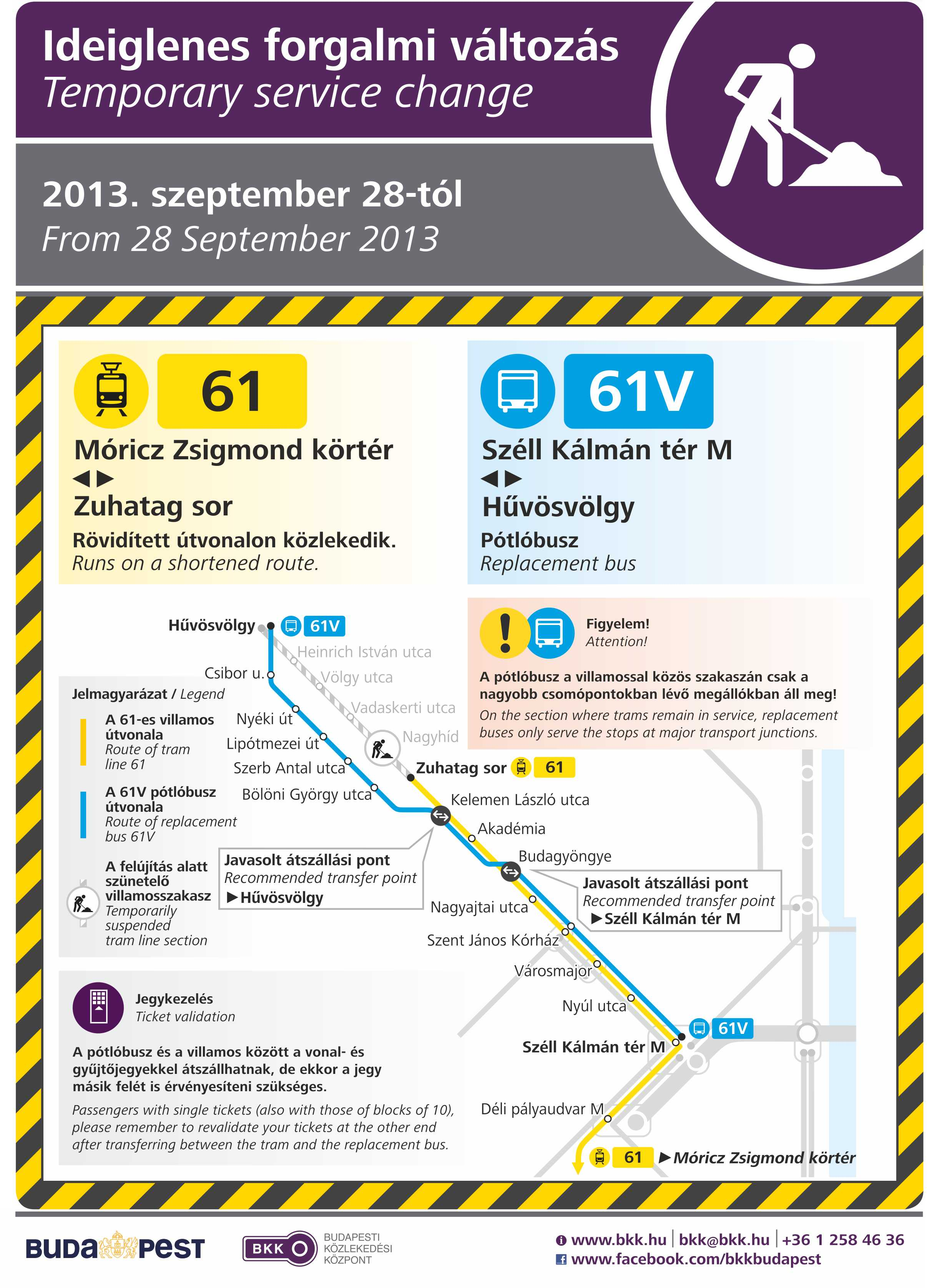 Due To Refurbishment Works Tram Line 61 Runs On A Shortened Route