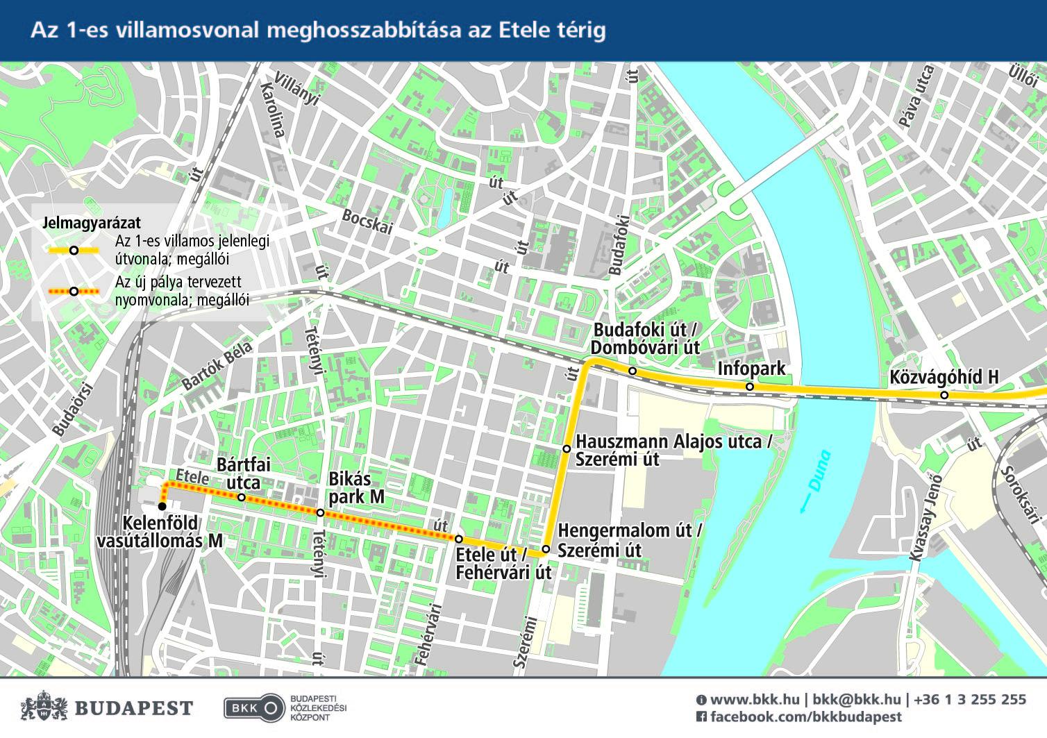 budapest térkép kelenföld Az 1 es villamos vonalának meghosszabbítása Kelenföld  budapest térkép kelenföld