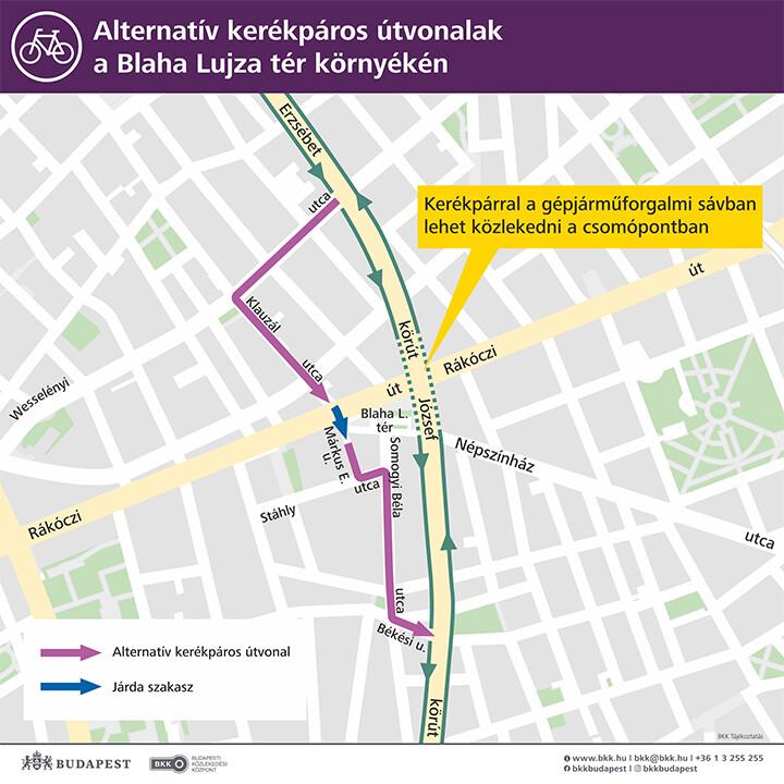 Alternatív kerékpáros útvonalakat tartalmazó térkép